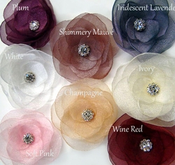 Organza Crystal Flower Hair Clip Bridal/Party Accessory F19