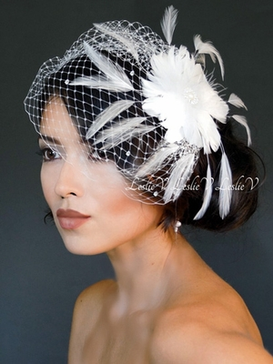 Sonya: Pearl Crystal Feather Spray Fascinator & Austrian Crystal Birdcage Veil 27-F55A