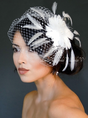 Sonya: Pearl Feather Brooch & Crystal Birdcage Veil Hat Veil/Headpiece 27-F55v