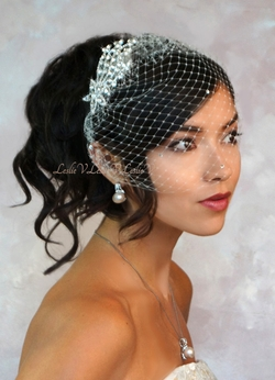 Venus: Rhinestone Spray Bridal Comb & Petite Birdcage Wedding Veil 27-71025
