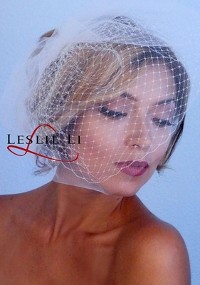 Women's Soft Tulle Bridal Birdcage Veil over French Netting Veil One Size
