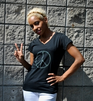 Rhinestone Peace Sign Shirt