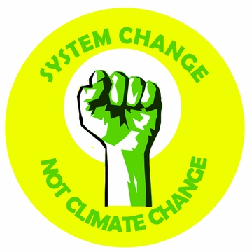 System Change, Not Climate Change Green Fist Button