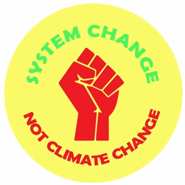 System Change, Not Climate Change Red Fist Button