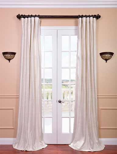 DEAL BUSTER: 2-1 Coconut Pole Pocket Raw Silk Curtain 100 x 84 (2 Widths of Fabric Used)