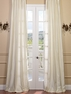 DEAL BUSTER: 2-1 Pearl White French Pleat Dupioni Silk Curtain 54 x 90 (2 widths of fabric used)
