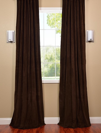 JUST ADDED: 2-1 French Pleat Java Velvet Curtain 50 x 108 (2 widths each panel)