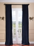 JUST ADDED: 2-1 Pole Pocket Indigo Blue Cotton Velvet Curtain 100 x 96 (2 widths each panel)