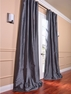 2-1 Charcoal Faux Silk Taffeta Curtain