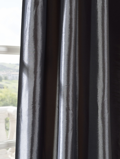JUST ADDED: 2-1 Parisian Pleat Graphite Faux Silk Taffeta Curtain 67 x 108 (2-1/2 widths each panel)