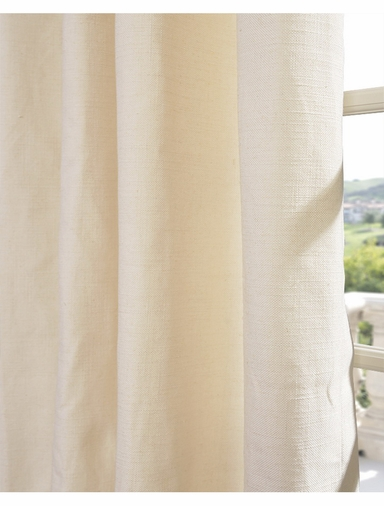 2-1 Cream Textured Linen Blend Grommet Curtain 50 x 84
