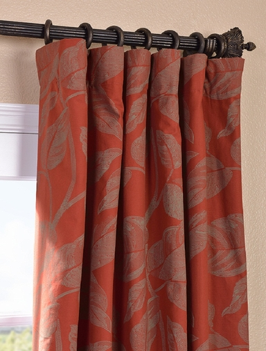 JUST ADDED: 2-1 Pole Pocket Bali Red Printed Cotton Curtain 100 x 96