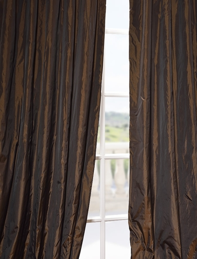 2-1 French Pleat Coffee Faux Silk Taffeta Curtain 25 x 84