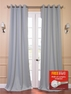 2-1 Puritan Grey Grommet Blackout Curtain 50 x 84 + FREE ROD SET