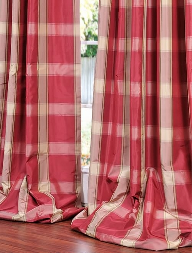 2-1 Jubilee Silk Taffeta Plaid Curtain 50 x 84 **Enter Qty 1 For 2 Panels, 2 For 4 etc