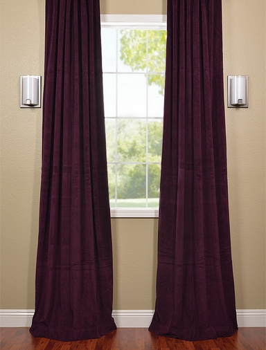 JUST ADDED: 2-1 French Pleat Eggplant Velvet Curtain 50 x 84