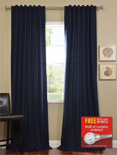 2-1 Navy Cotenza Curtain 50 x 120 + FREE ROD SET