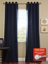 2-1 Navy Grommet Cotenza Curtain 50 x 108 + FREE ROD SET