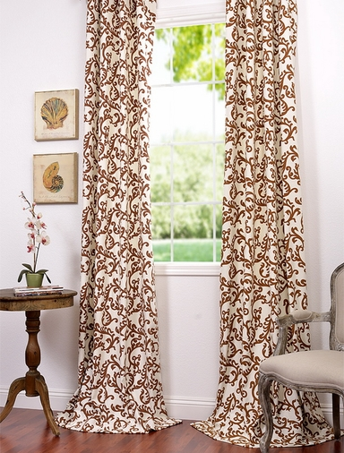 2-1 Pole Pocket Stamford Rust Printed Cotton Curtain 50x96