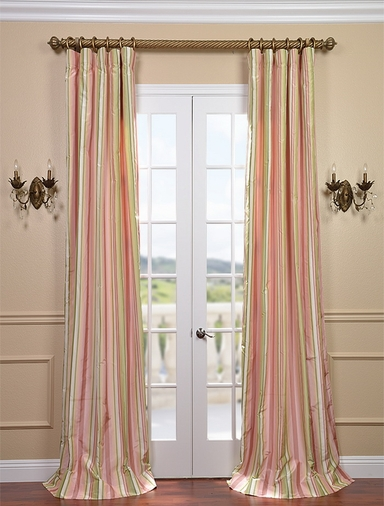2-1 Serendipity Silk Taffeta Stripe Curtain