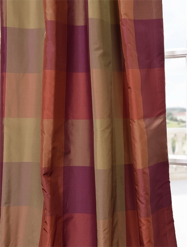 2-1 Theodore Silk Taffeta Plaid Pole Pocket Curtain 50 x 108