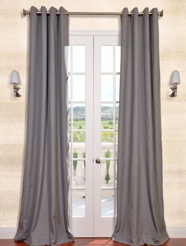 2-1 Weathered Grey Textured Linen Blend Grommet Curtain 50 x 108
