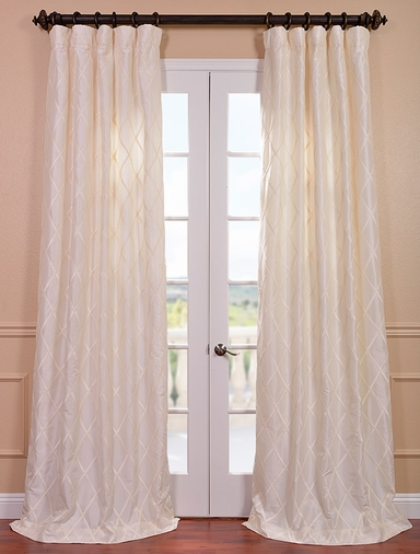 Alexandria Off White Taffeta Faux Silk Curtain