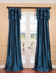 NEW: Azul Ruched Faux Solid Taffeta Curtain