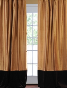 Banded Brown Gold Thai Silk With Kona Brown Velvet Curtain