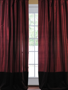 Banded Merlot Thai Silk With Kona Brown Velvet Curtain
