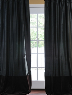 Banded Midnight Black Thai Silk With Kona Brown Velvet Curtain
