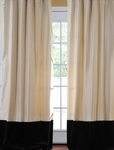 Banded Pearl White Thai Silk With Kona Brown Velvet Curtain