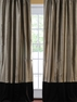 Banded Silver Grey Thai Silk With Kona Brown Velvet Curtain