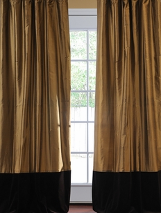 Banded Taupe Gold Thai Silk With Kona Brown Velvet Curtain