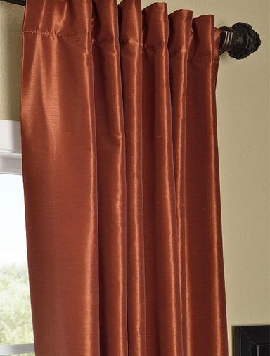 Curtains With Valance For Living Room Tangerine Faux Silk Curtains