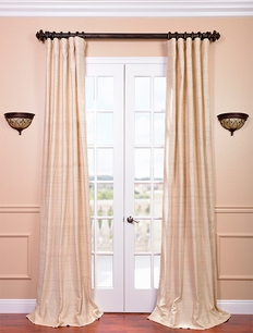 Cancun Sand Raw Silk Curtain