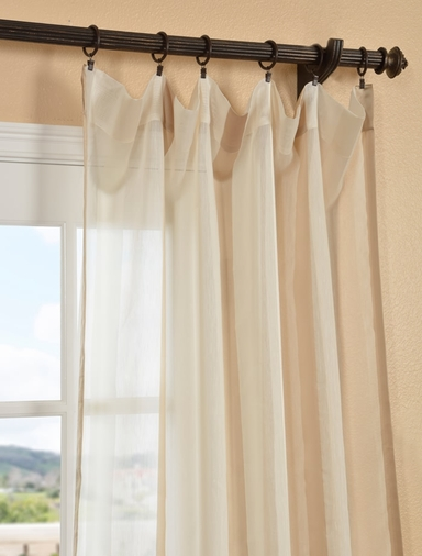 Carlton Cr�me Linen Blend Stripe Sheer Curtain