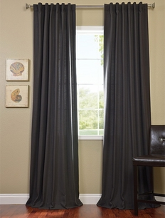 2-1 Charcoal Cotenza Pole Pocket With Back-Tabs Curtain