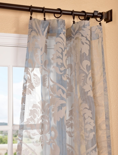 2-1 Agatha Taupe Gray Patterned Sheer Curtain