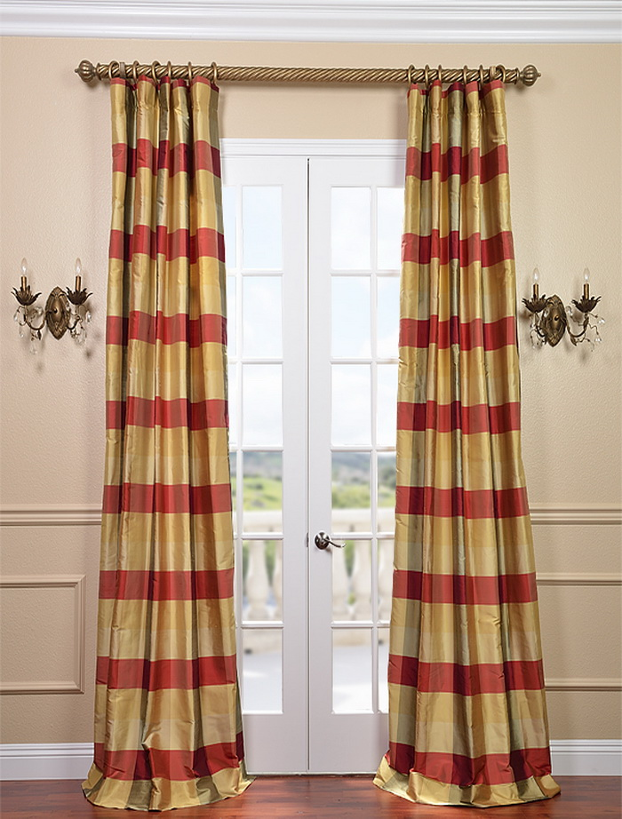 Red Striped Shower Curtain Silk Plaid Curtain Panels