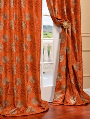 Embroidered Faux Silk Curtains