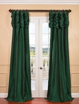 Emeral Green Ruched Faux Solid Taffeta Curtain