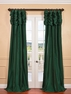 NEW: Emerald Green Ruched Faux Solid Taffeta Curtain