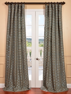 Filigree Blue Flocked Faux Silk Curtain