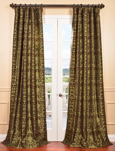 Firenze Fern Flocked Faux Silk Curtain