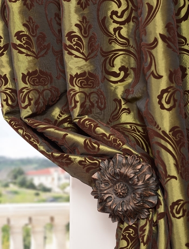 Firenze Fern Flocked Faux Silk Swatch
