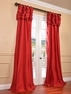 Hollywood Red Ruched Faux Solid Taffeta Curtain