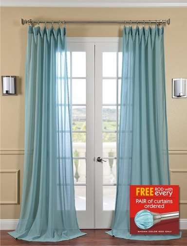 2-1 Lagoon Faux Linen Sheer 50 X 84 & 96 + FREE ROD SET