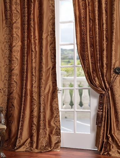 2-1 Filoli Wren Embroidered Silk Curtain 50 x 108 **Enter Qty 1 For 2 Panels, 2 For 4 etc