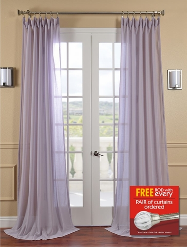 2-1 Lilac Faux Linen Sheer 50 X 84 & 96 + FREE ROD SET